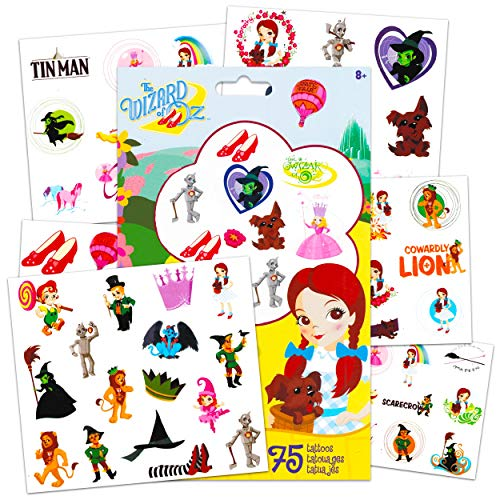 The Wizard of Oz Tattoos Toys for Kids Girls Boys ~ 75 Wizard of Oz Temporary Tattoos Costume Accessories Dress Up Party Favors Decorations (Wizard of Oz Gifts)