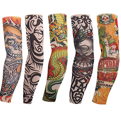 Gymforward Body Art Tattoo Arm Mouwen Sport Basketbal Elleboog Beschermers Compressie Arm Cover, Pack van 5