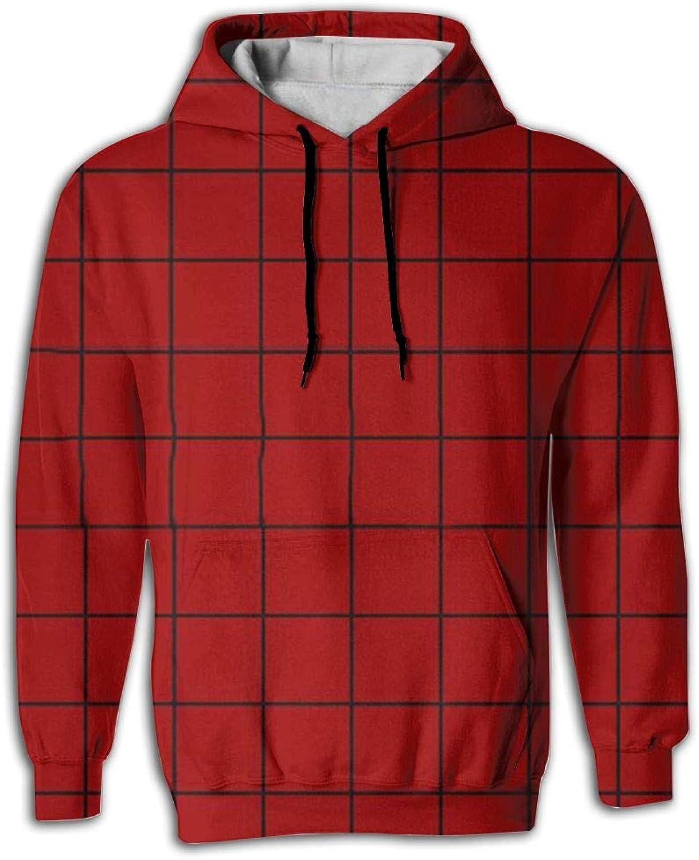 JUNE NI Men's RED Lattice Athletic Sweaters Fashion Hoodies Sweatshirts