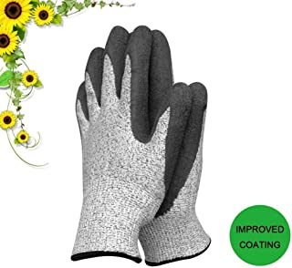 slashome Garden Gloves for Women and Men Super Grippy with Special Protective Coating Against Cuts and Dirt Premium Breathable Waterproof Work Glove for Gardening, Fishing, Clamming, 1Pair(Large)