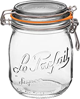 Le Parfait Super Jar - 750ml French Glass Canning Jar w/Round Body, Airtight Rubber Seal & Glass Lid, 24oz/Pint & Half (Single Jar) Stainless Wire