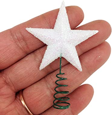 KARMELLING Miniature White Iridescent 1.5 Inch Star Tree Topper | Christmas Decorations