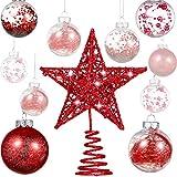 Gejoy 24 Piezas 2.36 Pulgadas Bola de Navidad de Plástico Irrompible Adornos Bolas de Áárbol con una Estrella de Árbol para Navidad Año Nuevo Presente Boda Inicio Decoración de Fiesta (Rojo)