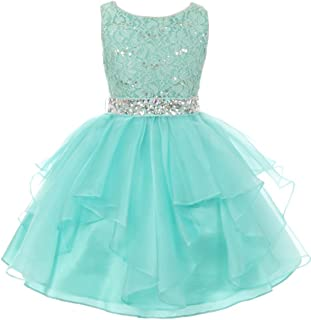 Flower Girl Dress Sequin Lace Top Rhinestone Belt & Ruffle Skirt
