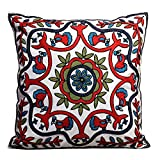 Bohemia Exotic Embroidery Decorative Pillow Cover 18x18 Exquisite Handmade Cotton Cushion Cover, Modern Plant Floral Patterns Decor Couch Home Boho Embroidered Art Square Pillowcase (Style1, 18x18)