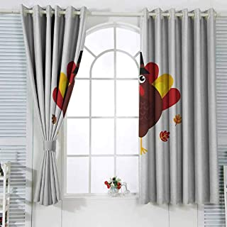 GROGON Grommet Blackout Curtains Turkey Cartoon Style Pilgrim Bird with Hat Fun Animal Character American Tradition Bedroom Patio Sliding Door Maroon Red Yellow W63 xL72