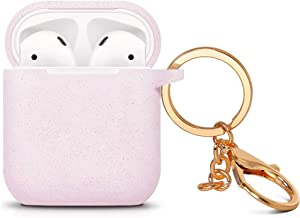 ZALU Compatible for AirPods case with Keychain, Glittery Cute Airpods Silicone Case Cover for Airpods 2 & 1 [Wireless Rechargeable] (AirPods 1, Glitter Pink)
