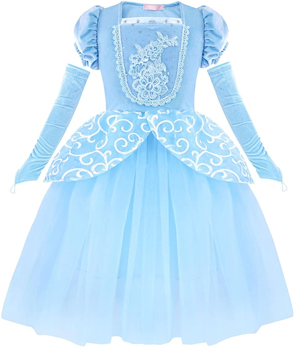 HenzWorld Girls Clothes Princess Costume Dress Birthday Party Cosplay Outfit Puff Sleeve Floral Blue Accessories