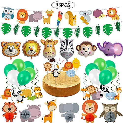 93 stücke Dschungel Geburtstagsdeko Jungen Deko, Tier Partei Liefert Tierkopf Luftballons Banner Topper für Jumbo Safari Themengeburtstag Party Baby Shower Dekorationen