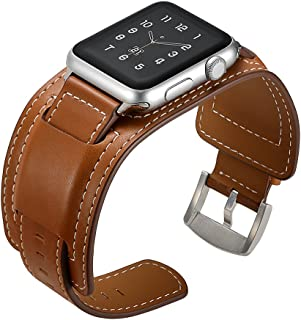 Elobeth iWatch Band 44mm 42mm Genuine Leather Band Buckle Cuff Bracelet Wrist Watch Band Adapter Compatible Apple Watch Series 4/3/2/1 (44/42mm Cuff Brown)