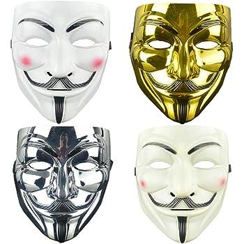 4 Pack V for Vendetta Guy Mask Halloween Mask Halloween Costume Cosplay Party Mask for Halloween Cosplay Party