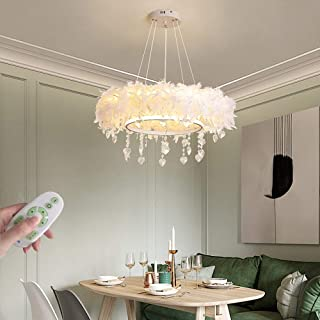 Araña de techo de plumas blancas de moda Lámpara colgante de cristal Luz de comedor Lámpara de dormitorio regulable, Luces pendiente para sala de estar Habitación infantil Restaurante Café, 69W, Ø60cm
