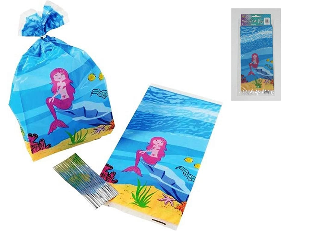 Mermaid Cello Bags with Twist Ties (Pack of 24) Birthday Themed Party Favors, Goody Bags, Treat Bags, Return Gift