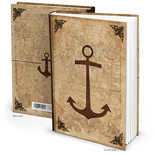 Leeg blanco notitieboek dagboek antiek op oud gemaakt anker vintage nostalgie DIN A4 136 lege pagina's wereldkaart Aarde wereld middeleeuwse stijl GOTIK ridder inschrift blanco boek