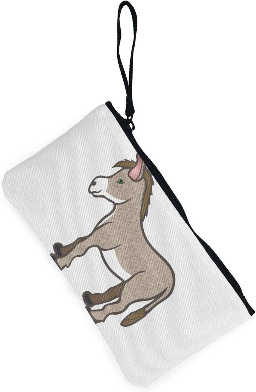AORRUAM Donkey Cute Canvas Coin Purse,Canvas Zipper Pencil Cases,Canvas Change Purse Pouch Mini Wallet Coin Bag