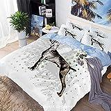 Juego de funda nórdica de cama de 3 piezas, boceto del perro Weimaraner Canine en Grungy Abstract Backdrop Artwork Decorativo, incluye 1 funda de edredón + 2 funda de almohada, negro gris verde, conju