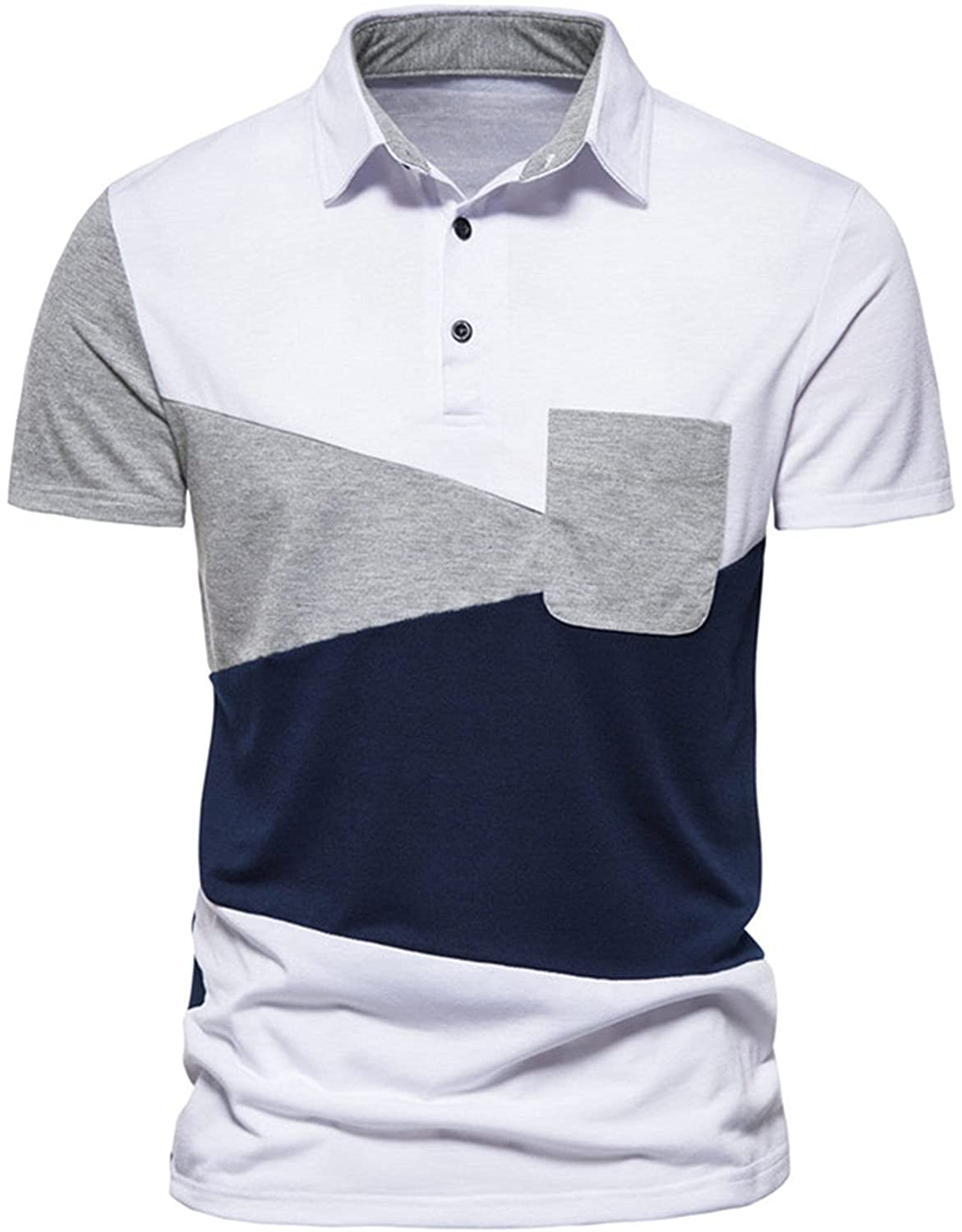 Price reduction Burband Men's Short free Sleeve Polo Casual Shirts Patchwork C Strech