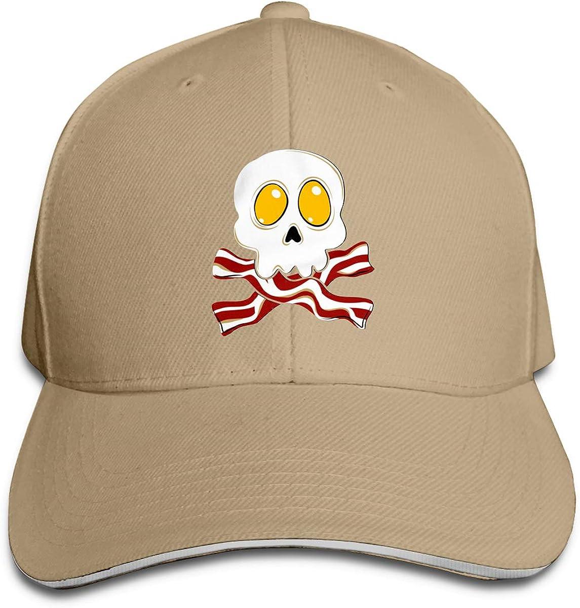 Bacon Eggs Skull Crossbones Men and Women Adjustable Sandwich Peaked Baseball Cap