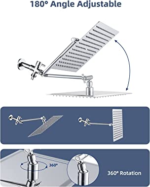"""Cobbe 8'' Shower Head Combo High Pressure Rainfall Handheld 5 Settings with 11'' Extension Arm 71"""" Hose,"""