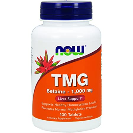 NOW Supplements, TMG Betaine (Trimethylglycine) 1,000 mg, Liver Support*, 100 Tablets