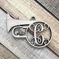 Monogram Tuba Christmas Ornament - Personalized Tuba Ornament - Tuba Euphonium Ornament - Gift for Tuba Player - Gift for Euphonium Player