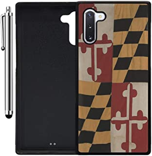 Custom Case Compatible with Galaxy Note 10 (Vintage Rustic Maryland State Flag) Edge-to-Edge Rubber Black Cover Ultra Slim | Lightweight | Includes Stylus Pen by Innosub