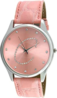 """Viva Silver Tone Round Crystal Dial Initial""""C"""" Pink Strap Wa"""