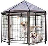Includes One (1) 5 ft Medium Open wire gazebo made from galvanized steel for your pet with a newly designed umbrella roof frame with no tools needed Includes weather resistant polyethylene reversible cover that protects your best friend from the elem...