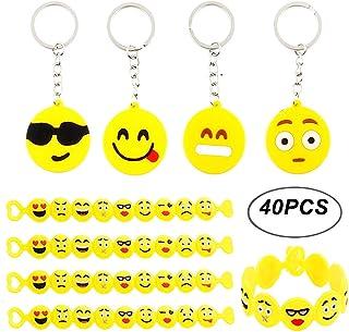 BigLion Llavero Emoji Keyring Keychain Pulsera de Silicona Goma Niños Emoción Divertido Parte Bolsa Regalos Escuela Recompensas de Clase Fiesta Favores Partido Cumpleaños Suministra Pequeños Juguetes