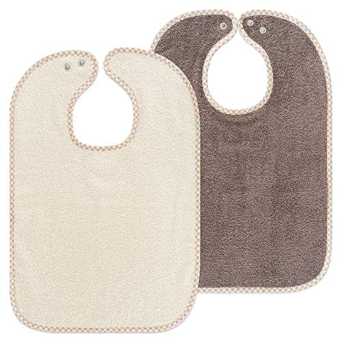 Lot de 2bavoirs pour bébé/enfants - Bavoir avec bouton pression/Taille réglable/Extra Large/Très absorbant/certifié Öko-Tex/100% coton
