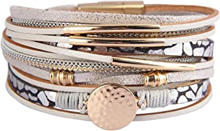 Leather Wrap Bracelets for Women Goldplated Metal...