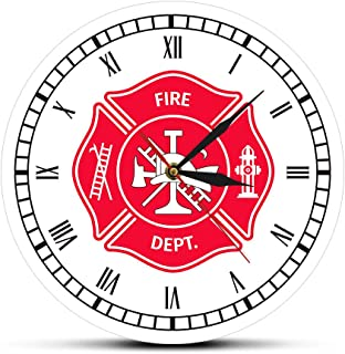llsmting Relojes De Pared Bombero Cruz De Malta Vintage First Responder Cuerpo De Bomberos Logotipo De