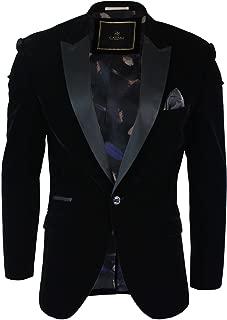 Mens Soft Velvet Black Navy 1 Button Dinner Jacket Tuxedo Blazer Smart Casual Fit
