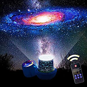 KISTRA Remote Star Projector Night Light for Kids Room (6-Films), 360° Rotating LED Starry Sky Nightlight with 1/2 Hrs Timer, Table Lamp, Brightness Color Adjust, Best Gifts, XGu-003