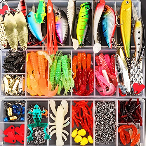 375pcs Lifelike Trout Carp Pike Perch Bass Fishing Lure Kit,Freshwater Plopping Minnow with Floating Rotating Tail,Artificial Hard baits,Saltwater Fishing BaitTackle Box with Tackle Gifts for friend