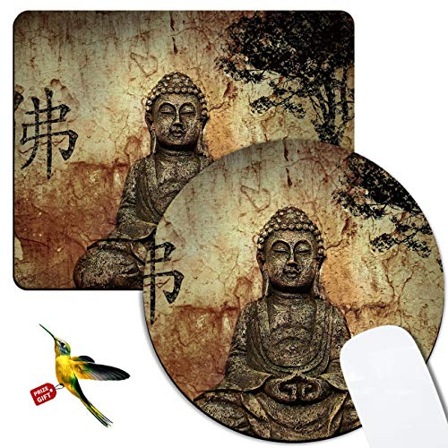 Rossy Mouse Pad 2 Pack,Gautama Buddha Pattem Design Gaming Mousepad, Customized Mouse Pads for Laptop,Computers & Office, Round Mouse Mat with Cute Hummingbird Stickers