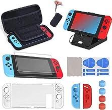 SUPERSUN 16 delar för Nintendo Switch tillbehörskit, bärväska och skärmskydd för Nintendo Switch | för Nintendo Switch sky...
