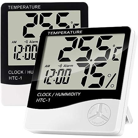 Jsdoin Termómetro Digital LCD para Interiores, 2 Unidades de higrómetro, medidor preciso de Temperatura Ambiente, Monitor de Humedad con Reloj Despertador para Dormitorio,Cocina, casa Verde, etc.