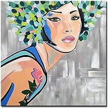 لوحات زيتية من SANSNMI على قماش فني يدوي الصنع من قماش الأكريليك مطبوع باليد الجمال مع الزهور على رأسها فن جداري بدون إطار...