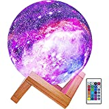 Himalyan Glow Kids Night Galaxy Lamp 5.9-inch 16 Colors LED 3D Star Moon Light with Wood Stand, Remote & Touch Control USB Rechargeable, Gift for Baby Girls Boys Birthday