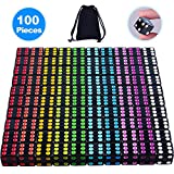 AUSTOR 100 Pieces Black Dice with Colorful Pips 6 Sided Square Corner Dices Come with a Free Storage Bag