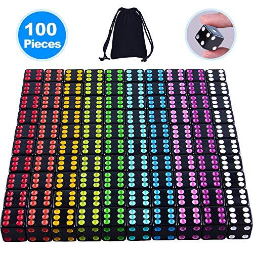 SIQUK 100 Stück Würfelset 6 Seckige Schwarze Würfel mit bunten Pips zum Spielen von Spielen wie Tenzi, Farkle, Yahtzee, Bunco oder Mathematikunterricht (mit kostenlosem Aufbewahrungsbeutel)