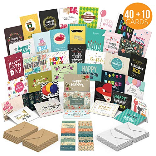 MPFY- Birthday Card, Birthday Cards, Pack of 40 Unique Designs with Envelopes, Bonus 10 Gift Cards, Birthday Cards Assortment, Happy Birthday Card, Birthday Cards Bulk, Blank Inside, Employee, Kids