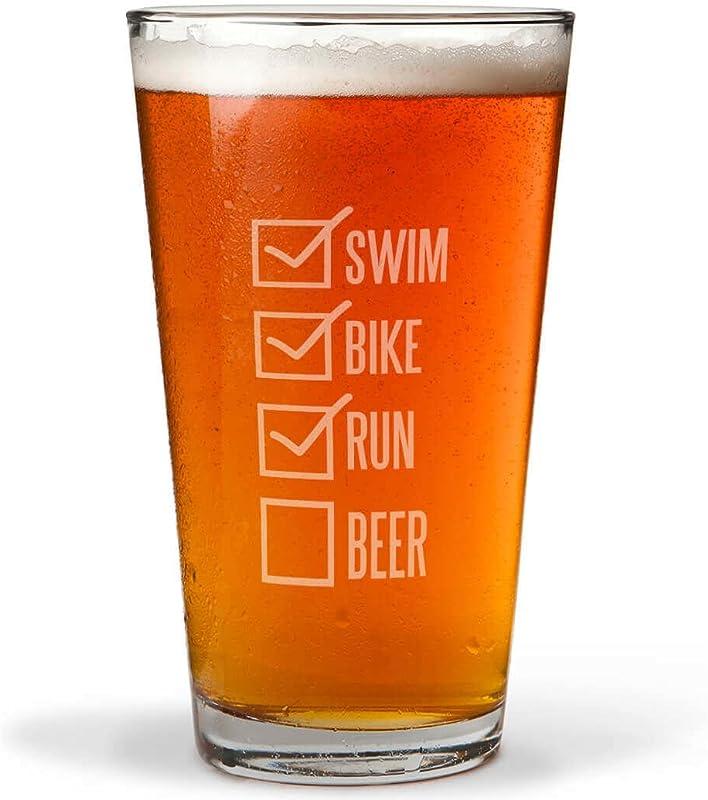 Swim Bike Run Checklist Engraved Beer Pint Glass By ChalkTalk SPORTS 16 Oz