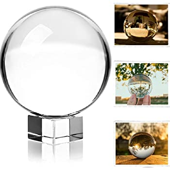 "Photograph Crystal Ball with Stand and Pouch, K9 Crystal Suncatchers Ball with Microfiber Pouch, Decorative and Photography Accessory (3-1/5"" Dia, K9 Clear)"