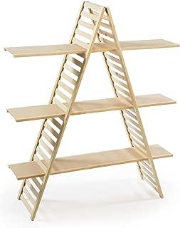 Displays2go 3 Tiers Wood A-Frame Shelf, 48 x 57 x 14.5-Inch, Pine