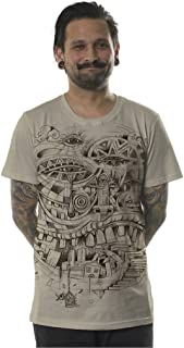 Mens Urban T-Shirt Illuminati City Steps Graphic Sand Alternative Trippy Top