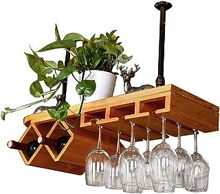 ZHTY Casiers à vin Suspendus montés au Plafond pour Bar/pub/Cuisine Armoires à Bouteilles de vin en Bois Support de Rangem...