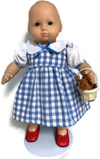 15 inch Doll Clothes fits Bitty Baby and Bitty Twin Dolls Dorothy Dress, Red Shoes, Toto and Basket