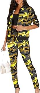 Women Camo Camouflage Print 2 Piece Activewear Sweatsuit Sportswear